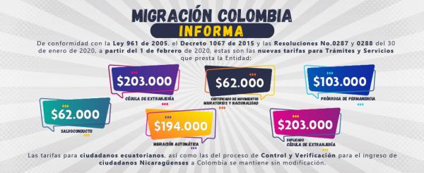 tarifas migratorias en colombia
